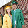 Stacey Diamond | The Goshen News<br /> Madison Kidder and  Nathan Weaver share smiles at the Northridge High School graduation Sunday afternoon.