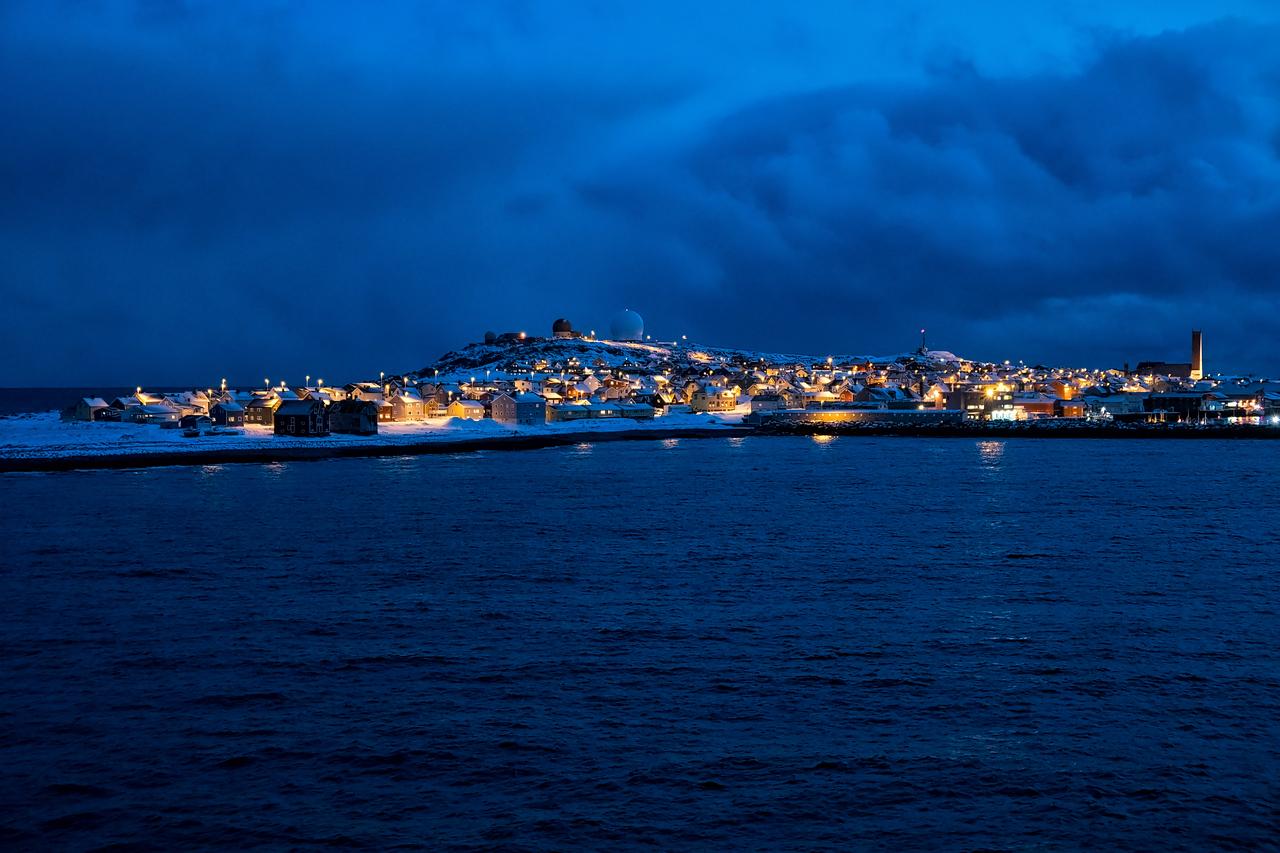 Entering Tromso Harbor just after sunset