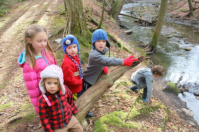 IMG_6218 charlie park in plaid, zella little, seamus and malachi coogan,,sit on log getting instructions