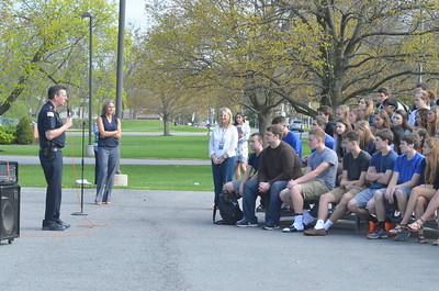 John Brewer - Oneida Daily Dispatch Oneida High School students, along with the Oneida Police Department, Oneida Fire Department, Vineall Ambulance, Madison County District Attorney, and Campbell-Dean Funeral Home, take part in a mock DWI accident at the Oneida High School on Thursday, April 27, 2017.