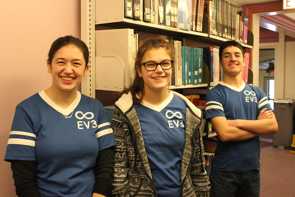 . Charles Pritchard - Oneida Daily Dispatch Corrine Bush, left, Carianne Bush, middle, and Daniel Martinez at the Oneida Public Library for the Lego FIRST Robotics scrimmage on Thursday, Dec. 28, 2017.