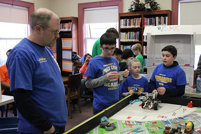 Charles Pritchard - Oneida Daily Dispatch FIRST Lego Robotics teams compete at the Oneida Public Library during a scrimmage on Thursday, Dec. 28, 2017.