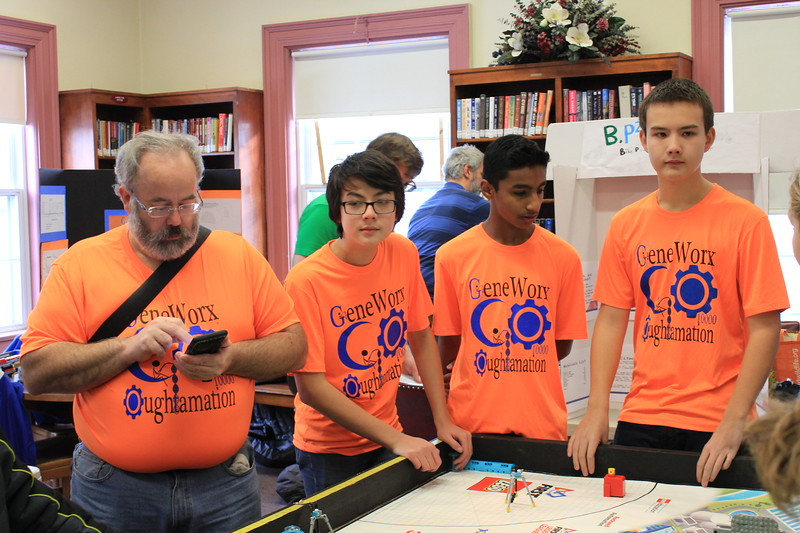 Charles Pritchard - Oneida Daily Dispatch FIRST Lego Robotics team GeneWorx Oughtamation compete at the Oneida Public Library during a scrimmage on Thursday, Dec. 28, 2017.