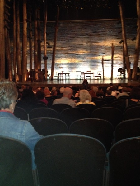 """Waiting for the Broadway show """"Come From Away"""" to start.  The entire  show was presented on that set with no intermission.  The chairs would be rearranged to indicate set changes."""