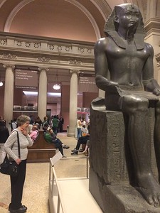 Checking out the Egyptian art at The Met.