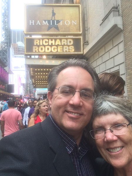 We're actually here.  In New York, outside the Richard Rodgers theater ready to see Hamilton.