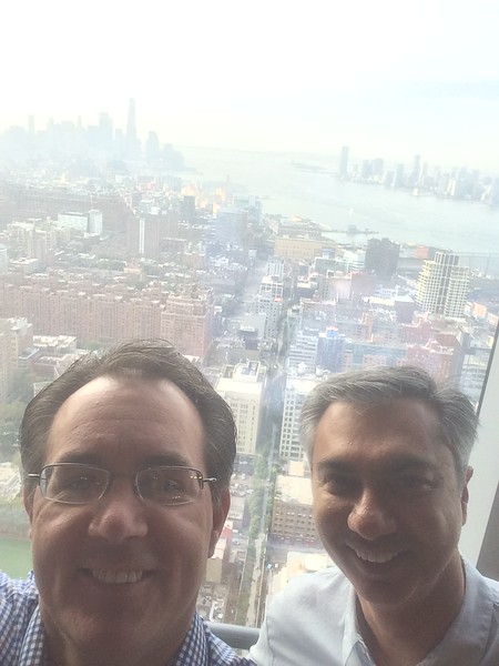 Paul and Amyn  in Amyn's office on Sunday.  What a view.