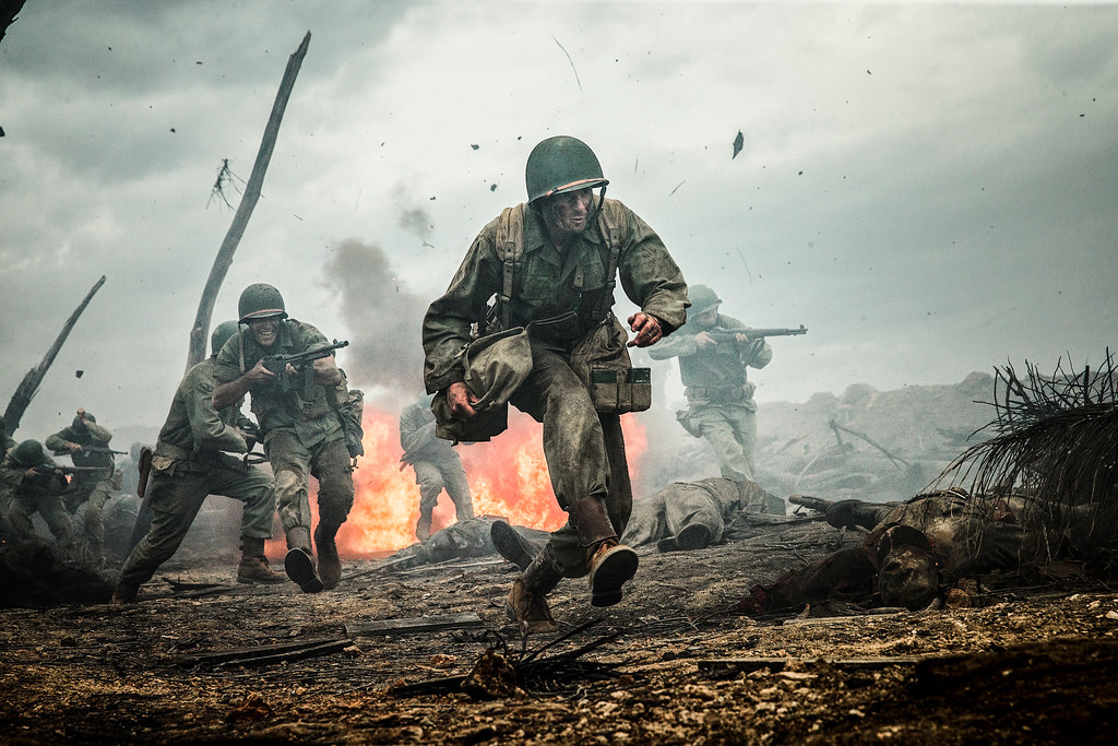 """. This image released by Summit shows Andrew Garfield in a scene from \""""Hacksaw Ridge.\"""" The film was nominated for an Oscar for best picture on Tuesday, Jan. 24, 2017.  The 89th Academy Awards will take place on Feb. 26.  (Mark Rogers/Summit via AP)"""