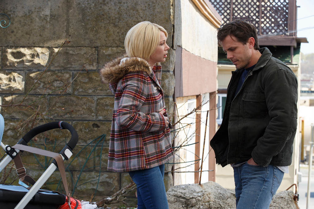 """. This image released by Roadside Attractions and Amazon Studios shows Michelle Williams, left, and Casey Affleck in a scene from \""""Manchester By The Sea.\"""" Williams was nominated for an Oscar for best  supporting actress on Tuesday, Jan. 24, 2017,  for her work in the film. The 89th Academy Awards will take place on Feb. 26. (Claire Folger/Roadside Attractions and Amazon Studios via AP)"""