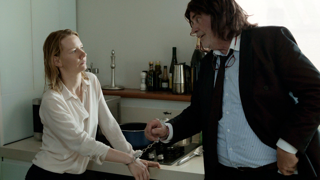 ". This image released by Sony Pictures Classics shows Sandra Huller as Ines, left, and and Peter Simonischek as Winfried in a scene from the Komplizen Film, ""Toni Erdmann.\"" The film was nominated for an Oscar for best foreign language film on Tuesday, Jan. 24, 2017.  The 89th Academy Awards will take place on Feb. 26.  (Sony Pictures Classics via AP)"
