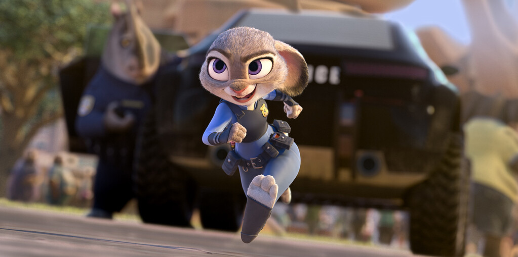 ". This image released by Disney shows Judy Hopps, voiced by Ginnifer Goodwin, in a scene from the animated film, ""Zootopia.\""  The film was nominated for an Oscar for best animated feature on Tuesday, Jan. 24, 2017.  The 89th Academy Awards will take place on Feb. 26. (Disney via AP)"