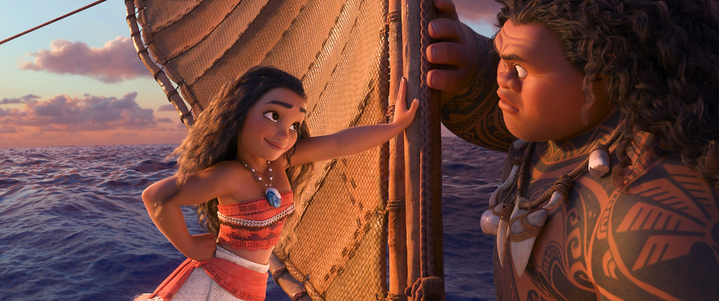""". This image released by Disney shows characters Maui, voiced by Dwayne Johnson, right, and Moana, voiced by Auli\'i Cravalho, in a scene from the animated film, \""""Moana.\"""" The film was nominated for an Oscar for best animated feature on Tuesday, Jan. 24, 2017.  The 89th Academy Awards will take place on Feb. 26. (Disney via AP)"""