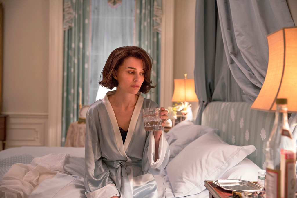 ". This image released by Fox Searchlight shows Natalie Portman as Jackie Kennedy in a scene from the film, ""Jackie.\""  Portman was nominated for an Oscar for best actress in a leading role on Tuesday, Jan. 24, 2017, for her work in the film. The 89th Academy Awards will take place on Feb. 26.  (Stephanie Branchu/Fox Searchlight via AP)"