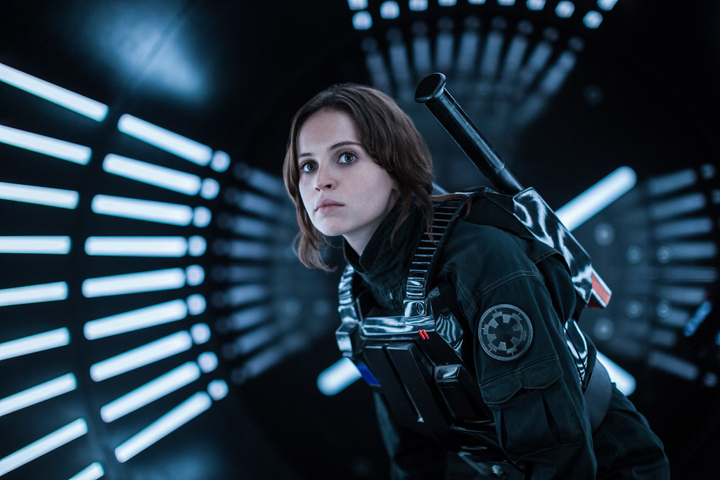 """. FILE - This file image released by Lucasfilm Ltd. shows Felicity Jones as Jyn Erso in a scene from, \""""Rogue One: A Star Wars Story.\"""" The �Star Wars� spinoff �Rogue One� has led the box office for the third straight week, taking in an estimated $64.3 million over the four-day New Year�s weekend. (Jonathan Olley/Lucasfilm Ltd. via AP, File)"""