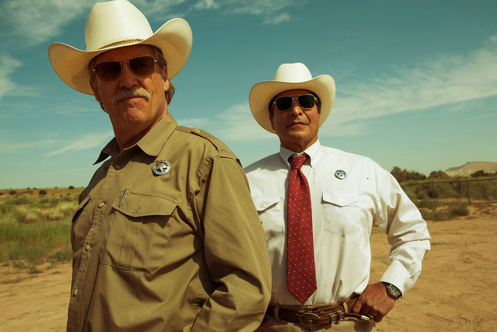 """. This image released by CBS Films shows  Jeff Bridges, left, and Gil Birmingham in a scene from \""""Hell or High Water.\"""" The film was nominated for an Oscar for best picture on Tuesday, Jan. 24, 2017.  The 89th Academy Awards will take place on Feb. 26. (Lorey Sebastian/CBS Films via AP)"""