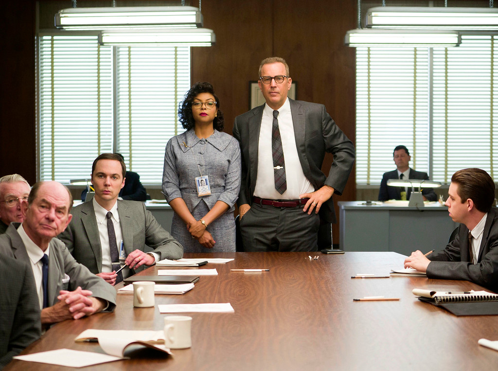 ". This image released by Twentieth Century Fox shows Taraji P. Henson, standing left, and Kevin Costner, standing right, in a scene from, ""Hidden Figures.\"" The film was nominated for an Oscar for best picture on Tuesday, Jan. 24, 2017.  The 89th Academy Awards will take place on Feb. 26.  (Hopper Stone/Twentieth Century Fox via AP)"