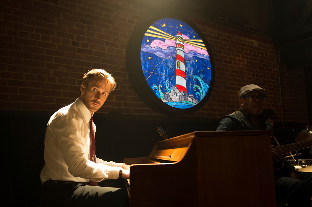 ". This image released by Lionsgate shows Ryan Gosling in a scene from, ""La La Land.\"" Gosling was nominated for an Oscar for best actor in a leading role on Tuesday, Jan. 24, 2017, for his work in the film. The 89th Academy Awards will take place on Feb. 26. (Dale Robinette/Lionsgate via AP)"
