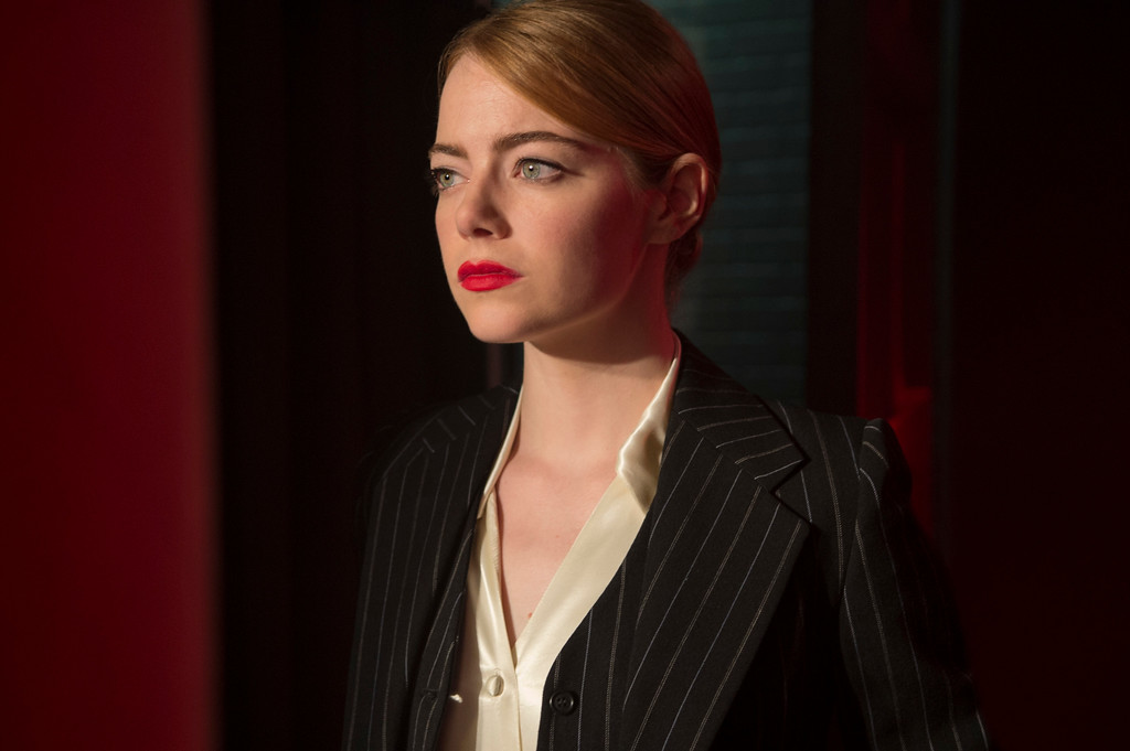 ". This image released by Lionsgate shows Emma Stone in a scene from, ""La La Land.\"" Stone was nominated for an Oscar for best actress in a leading role on Tuesday, Jan. 24, 2017, for her work in the film. The 89th Academy Awards will take place on Feb. 26.  (Dale Robinette/Lionsgate via AP)"