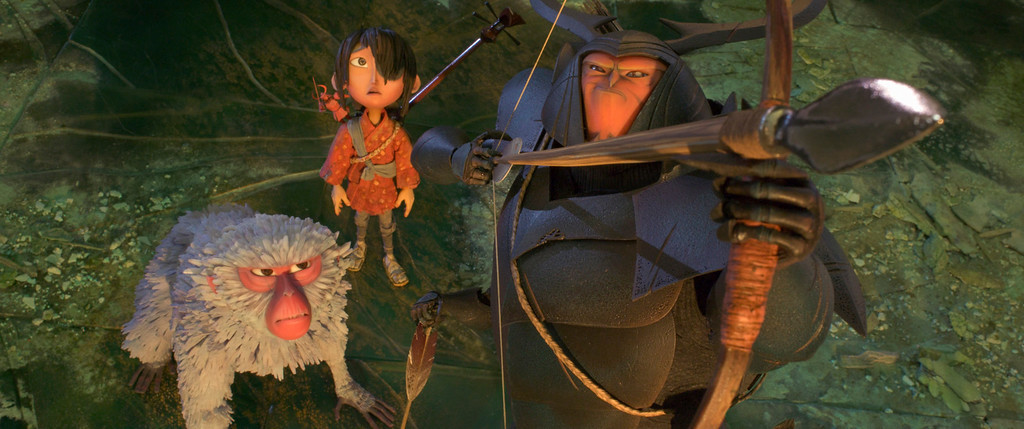 """. This image released by Focus Features shows characters Monkey, voiced by Charlize Theron, left, Kubo, voiced by Art Parkinson, and Beetle, voiced by Matthew McConnaghey in a scene from the animated film, \""""Kubo and the Two Strings.\""""  The film was nominated for an Oscar for best animated feature on Tuesday, Jan. 24, 2017.  The 89th Academy Awards will take place on Feb. 26. (Laika Studios/Focus Features via AP)"""