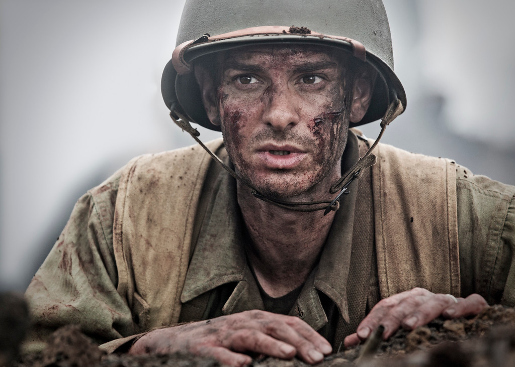 """. This image released by Summit shows Andrew Garfield in a scene from \""""Hacksaw Ridge.\"""" Garfield was nominated for an Oscar for best actor in a leading role on Tuesday, Jan. 24, 2017, for his work in the film. The 89th Academy Awards will take place on Feb. 26. (Mark Rogers/Summit via AP)"""
