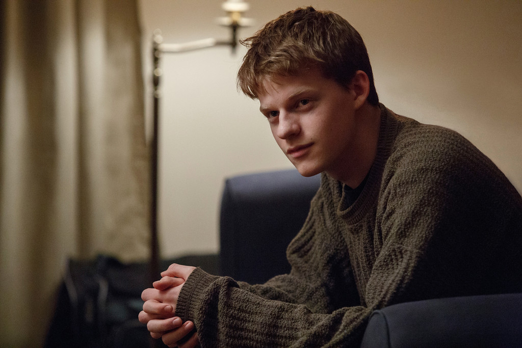 ". This image released by Roadside Attractions and Amazon Studios shows Lucas Hedges in a scene from ""Manchester By the Sea.\"" Hedges was nominated for an Oscar for best  supporting actor on Tuesday, Jan. 24, 2017, for his work in the film. The 89th Academy Awards will take place on Feb. 26. (Claire Folger/Roadside Attractions and Amazon Studios via AP)"