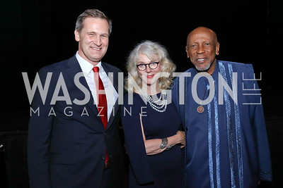 Charlottesville Mayor Mike Signer, Blythe Danner, Louis Gossett Jr. Photo by Tony Powell. 2017 ADL Concert Against Hate. Kennedy Center. October 30, 2017