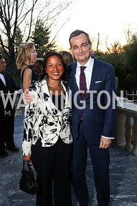Dr. Susan Rice, France Amb. Gerard Araud. Photo by Tony Powell. Alliance Francaise. Residence of France. April 4, 2017