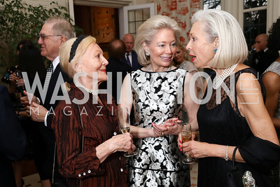 Evelyn DiBona, Joan Carl, Nina Pillsbury. Photo by Tony Powell. Alliance Francaise. Residence of France. April 4, 2017