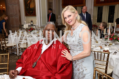 André Leon Talley, Susan Pillsbury. Photo by Tony Powell. Alliance Francaise. Residence of France. April 4, 2017