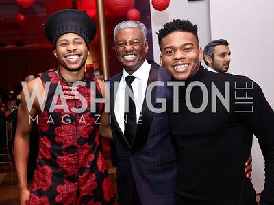 Ailey dancer Jeroboam Bozeman, Art Collins, Ailey dancer Solomon Dumas. Photo by Tony Powell. 2017 Alvin Ailey DC Gala. Kennedy Center. February 7, 2017