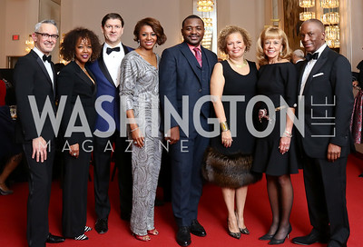 Bennett Rink, Gina Adams, Lyndon Boozer, Sela Collins, Robert Battle, Debra Lee, Daria Wallach, Christopher Womack. Photo by Tony Powell. 2017 Alvin Ailey DC Gala. Kennedy Center. February 7, 2017