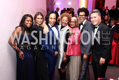 D'Angela Proctor, Ayiko Broward, Paul Wharton, Paula Madison, Fleur Paysour, Aaron Walton, Rep. Mark Takano. Photo by Tony Powell. 2017 Alvin Ailey DC Gala. Kennedy Center. February 7, 2017