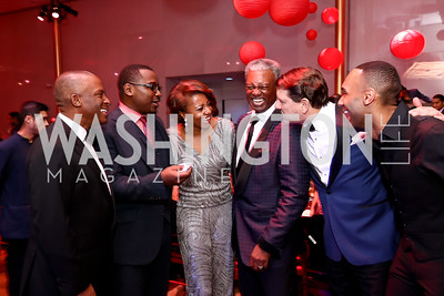 Christopher Womack, Ailey Artistic Director Robert Battle, Sela Collins, Art Collins, Lyndon Boozer, Ailey dancer Christopher Womack. Photo by Tony Powell. 2017 Alvin Ailey DC Gala. Kennedy Center. February 7, 2017