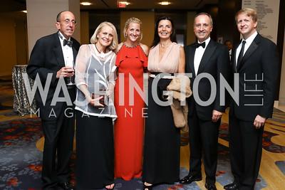 Gary Labovich, Susan Labovich, Carrie Marriott, Micaela Varricchio, Italy Amb. Armando Varricchio, David Marriott. Photo by Tony Powell. 2017 Ambassadors Ball. Marriott Marquis. October 12, 2017