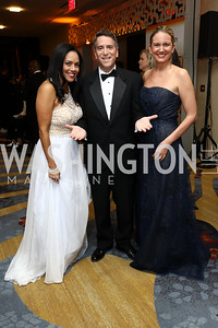 Chartese Berry, James Rosen and Sara Durkin. Photo by Tony Powell. 2017 Ambassadors Ball. Marriott Marquis. October 12, 2017