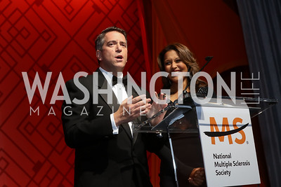 James Rosen, Lesli Foster. Photo by Tony Powell. 2017 Ambassadors Ball. Marriott Marquis. October 12, 2017
