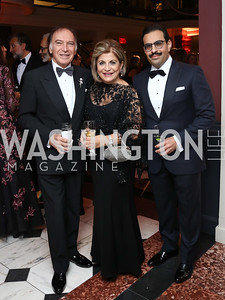 Leo Sahakian, Annie Totah, Bahrain Amb. Abdulla Al Khalifa. Photo by Tony Powell. 2017 American Portrait Gala. November 19, 2017