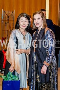 Nobuko Sasae, Lael Mohib. Photo by Tony Powell. 2017 Aschiana Foundation Gala. Residence of Japan. February 8, 2017