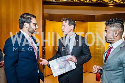 Afghanistan Amb. Hamdullah Mohib, Scott Jacobs, Haseeb Ahmady. Photo by Tony Powell. 2017 Aschiana Foundation Gala. Residence of Japan. February 8, 2017