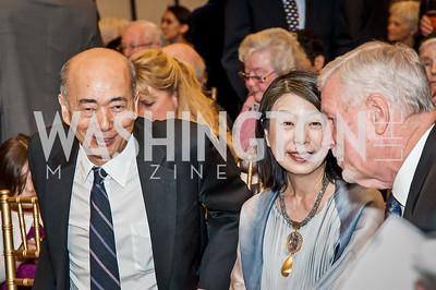 Japan Amb. Kenichiro Sasae and Nobuko Sasae, Gen. Richard Myers. Photo by Tony Powell. 2017 Aschiana Foundation Gala. Residence of Japan. February 8, 2017