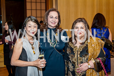 Nobuko Sasae, Sany Younossi, Shaista Mahmood. Photo by Tony Powell. 2017 Aschiana Foundation Gala. Residence of Japan. February 8, 2017