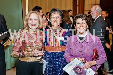Lois Herrmann, Sima Calkin, Kate HeichlerLois Herrmann, Sima Calkin, Kate Heichler. Photo by Tony Powell. 2017 Aschiana Foundation Gala. Residence of Japan. February 8, 2017