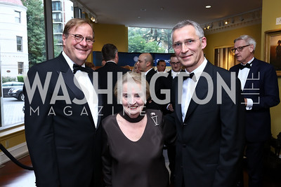 Fred Kempe, Madeleine Albright, NATO Sec. Gen. Jens Stoltenberg. Photo by Tony Powell. 2017 Atlantic Council Distinguished Leadership Awards. Ritz Carlton. June 5, 2017