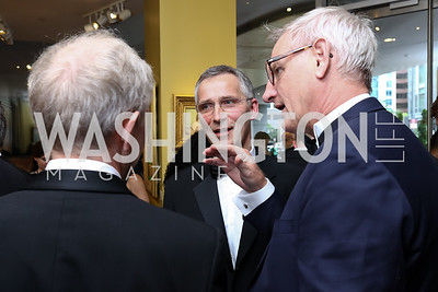 Sweden Amb. Bjorn Lyrvall, NATO Sec. Gen. Jens Stoltenberg, Carl Bildt. Photo by Tony Powell. 2017 Atlantic Council Distinguished Leadership Awards. Ritz Carlton. June 5, 2017