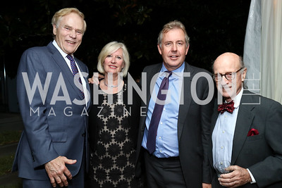 Jan Lodal, Vanessa Darroch, Britain Amb. Sir Kim Darroch, Finlay Lewis. Photo by Tony Powell. 2017 Cafritz Welcome Back from Summer. September 8, 2017