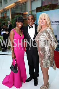 Genevieve Hanson, Vincent Orange, Mo Bryant. Photo by Tony Powell. DC Chamber's Choice Awards and Gala. Marriott Marquis. October 20, 2017