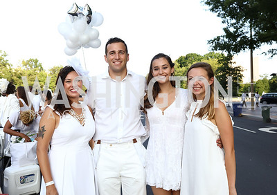 Madeleine Gillis, Alex Filauro, Erika Moscoso, Avery Holloman. Photo by Tony Powell. 2017 Diner en Blanc. Pennsylvania Avenue. August 26, 2017