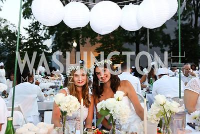 Maggie De Angelis, Ally Perleoni. Photo by Tony Powell. 2017 Diner en Blanc. Pennsylvania Avenue. August 26, 2017