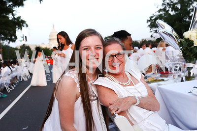 Sophie King and Annie Boutin-King. Photo by Tony Powell. 2017 Diner en Blanc. Pennsylvania Avenue. August 26, 2017