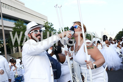 Josh and Rose Moore. Photo by Tony Powell. 2017 Diner en Blanc. Pennsylvania Avenue. August 26, 2017